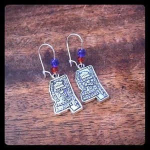 Blue Red Beaded Mississippi Handmade Earrings NWT
